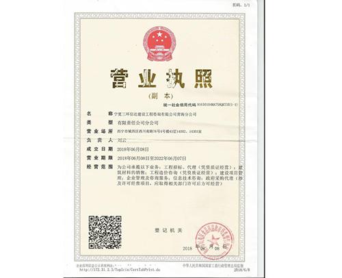 青海分公司营业执照